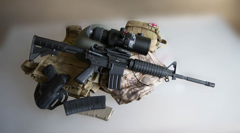 AN/PVS-4 Night Vision Sight on AR-15 - HK USP Compact - Magpul PMAGs