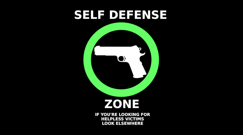 Self Defense Zone Sign